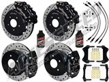"Wilwood FNSL6 Front 14"" & DPR Rear Big Brake Kit, Black, Drilled & Brake Lines 2004-2006 Pontiac GTO /"