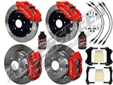"Wilwood FNSL6-DS Front 14"" & DPR Rear Big Brake Kit, Red, Slotted & Brake Lines 2004-2006 GTO /"