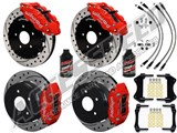 "Wilwood FNSL6-DS Front 14"" & DPR Rear Big Brake Kit, Red, Drilled & Brake Lines 2004-2006 GTO /"