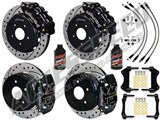 "Wilwood FNSL6-DS Front 14"" & DPR Rear Big Brake Kit, Black, Drilled & Brake Lines 2004-2006 GTO /"