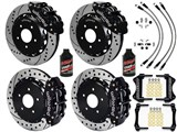 "Wilwood SL6R 14"" Front & SL4R Rear Brake Kit, Black, Drilled, W/Lines & Fluid 2007-2015 Wrangler JK /"