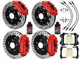 "Wilwood SL6R Front & SL4R Rear 13"" Brake Kit Red, Drilled Rotors Brake Lines 2007-2015 Wrangler JK /"