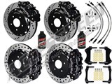 "Wilwood SL6R Front & SL4R Rear 13"" Brake Kit Black, Drilled Rotors Brake Lines 2007-2015 Wrangler JK /"
