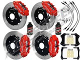 "Wilwood SL6R 14"" Front & 13"" Rear Brake Kit, Red, Slotted Rotors Brake Lines 2007-2015 Wrangler JK /"