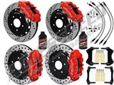 "Wilwood SL6R 14"" Front & 13"" Rear Brake Kit, Red, Drilled Rotors Brake Lines 2007-2015 Wrangler JK /"