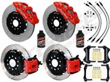 "Wilwood AERO4 Rear 14"" Big Brake Kit, Red, Drilled & Slotted, Brake Lines & Fluid 2005-2014 Mustang /"