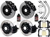 "Wilwood AERO4 Rear 14"" Big Brake Kit, Black, Drilled & Slotted & Brake Lines 2005-2014 Mustang /"