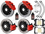"Wilwood AERO4 Rear 14"" Big Brake Kit, Red, Slotted, Brake Lines & Fluid 2005-2014 Mustang /"