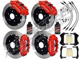 "Wilwood Forged SL6R 14"" Front & SL4R 13"" Rear Brake Kit, Red Slotted Brake Lines 2005-2014 Mustang /"