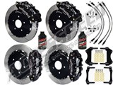 "Wilwood 13"" Forged SL6R Front & SL4R Rear Big Brake Kit, Black Slotted Brake Lines 2005-2014 Mustang /"