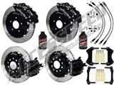 "Wilwood SL6R 14"" Front & CPB Rear Brake Kit, Black, Slotted, Brake Lines & Fluid 2005-2014 Mustang /"
