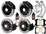 "Wilwood SL6R 14"" Front & CPB Rear Brake Kit, Black, Drilled, Brake Lines & Fluid 2005-2014 Mustang /"