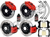 "Wilwood SL6R 13"" Front & CPB Rear Brake Kit, Red, Slotted, Brake Lines & Fluid 2005-2014 Mustang /"