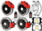 "Wilwood SL6R 13"" Front & CPB Rear Brake Kit, Red, Drilled, Brake Lines & Fluid 2005-2014 Mustang /"