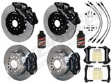 "Wilwood Forged SL6R 14"" Front Big Brake Kit, Black, Drilled, Brake Lines, Fluid 2005-2014 Mustang /"