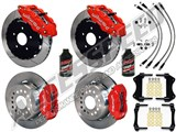 "Wilwood SL6R 13"" Front & FDL Rear Brake Kit, Red, Slotted, Brake Lines & Fluid 2005-2014 Mustang /"