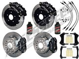 "Wilwood SL6R 13"" Front & FDL Rear Brake Kit, Black, Slotted, Brake Lines & Fluid 2005-2014 Mustang /"