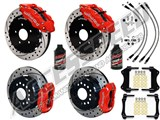 "Wilwood SL6R 13"" Front & FDL Rear Brake Kit, Red, Drilled, Brake Lines & Fluid 2005-2014 Mustang /"