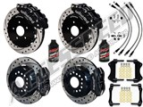 "Wilwood SL6R 13"" Front & FDL Rear Brake Kit, Black, Drilled, Brake Lines & Fluid 2005-2014 Mustang /"
