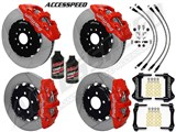 "Wilwood AERO6 15"" Front & AERO4 Rear Brake Kit Red, Slotted, Brake Lines, Fluid 2015-2017 Mustang /"