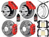 "Wilwood Dynalite Front & Dynapro Rear 11"" Big Brake Kit, Red, Lines, Fluid 64-65 Mustang 6-Cyl /"