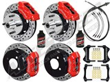 "Wilwood Dynalite Front & Dynapro Rear 11"" Brakes, Red, Drilled, Lines, Fluid 1964-66 Mustang 6-Cyl /"