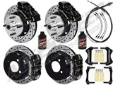 "Wilwood Dynalite Front & Dynapro Rear 11"" Brakes, Black, Drilled, Lines, Fluid 1964-66 Mustang 6-Cyl /"