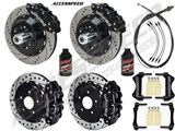 "Wilwood Superlite Front & Rear 13"" Brakes, Black, Drilled, Lines, Fluid, 2.66"" O/S, 1968-69 Mustang /"