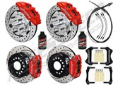 "Wilwood Dynapro Front & Rear 12"" Brakes, Red, Drilled, Lines, Fluid, 2.66"" O/S, 1970-73 Mustang /"