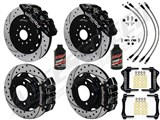"Wilwood AERO6 14"" Front & 13"" DP Rear Brakes, Black, Drilled, Brake Lines, Fluid 2003-2009 350Z/G35 / Wilwood 2003-2009 350Z/G35 Big Brake Combo"