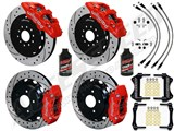"Wilwood AERO6 14"" Front & DP Rear Big Brakes, Red, Drilled, Brake Lines & Fluid 2009-2013 370Z/G37 /"